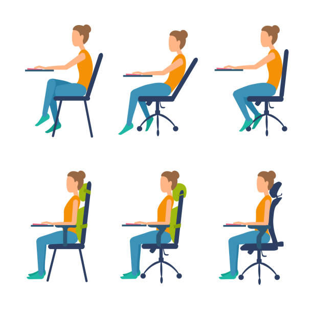 Correct, incorrect position sitting at table. Right posture for a healthy back. Ergonomic orthopaedic pillow under lower back and neck. Right posture for a healthy back. Support back and head. Vector illustration set isolated on white. posture stock illustrations