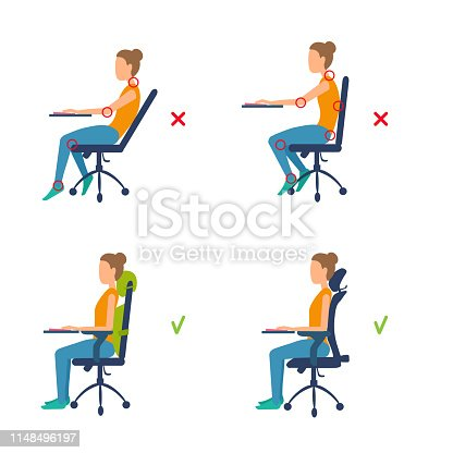 Good posture for a healthy back. Vector illustration isolated on white background.