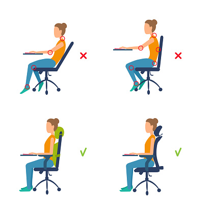 Correct, incorrect position sitting at the table. Marks of pain in joints, muscles. Ergonomic orthopedic pillow under lower back and neck.