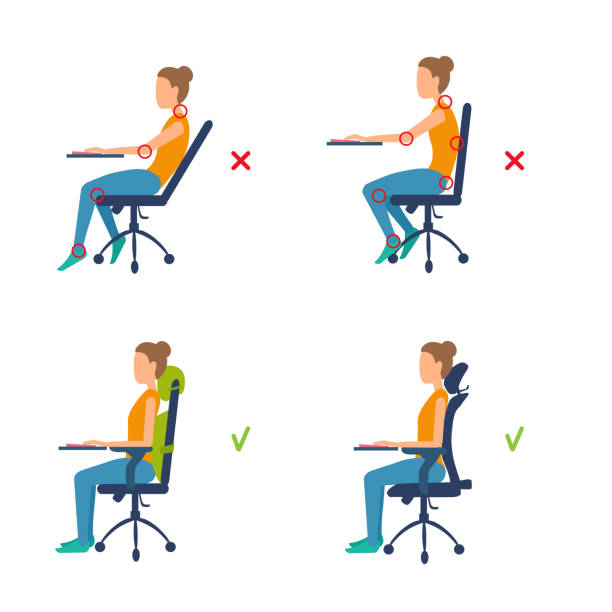 Correct, incorrect position sitting at the table. Marks of pain in joints, muscles. Ergonomic orthopedic pillow under lower back and neck. Good posture for a healthy back. Vector illustration isolated on white background. sitting stock illustrations