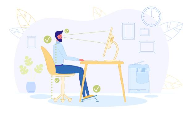 Correct Position to Sit at Table, Healthy Back. Correct Position to Sit at Table Flat Cartoon Vector Illustration. Ergonomic Concept, Right Posture for Healthy Back. Distance between Screen and Eyes, Good Chair Height, Footrest. posture stock illustrations