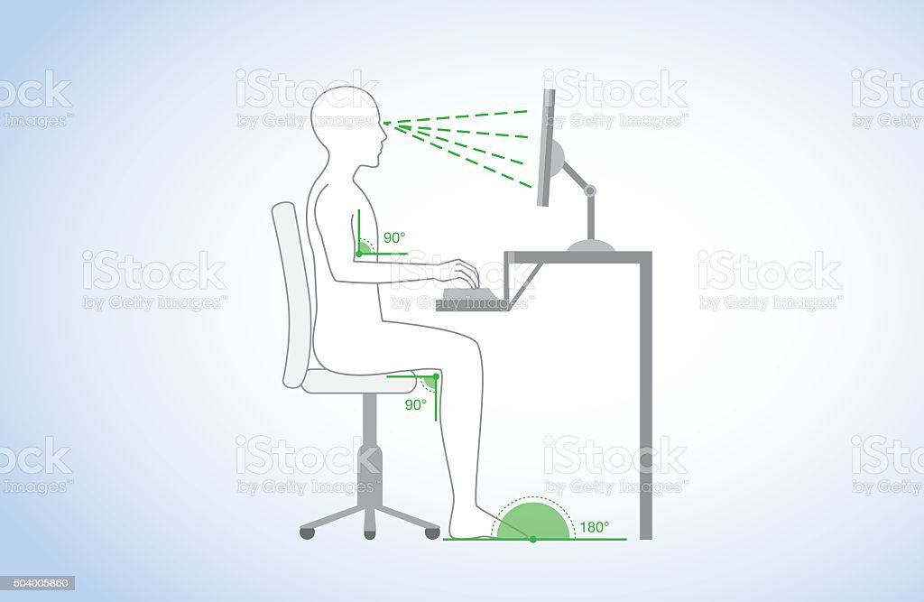 Correct posture and body angle in sitting working vector art illustration