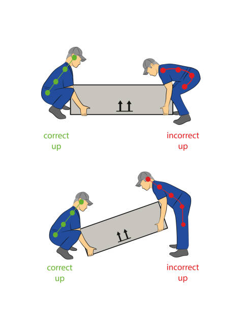 Best Safety Correct Lifting Of Heavy Box Vector ...