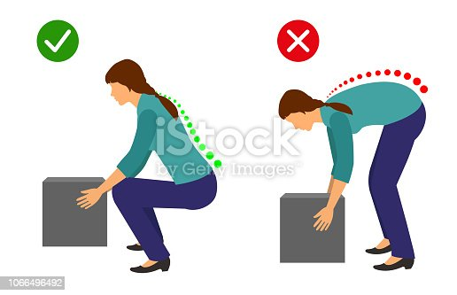Correct posture to lift a heavy object, Woman lifting object