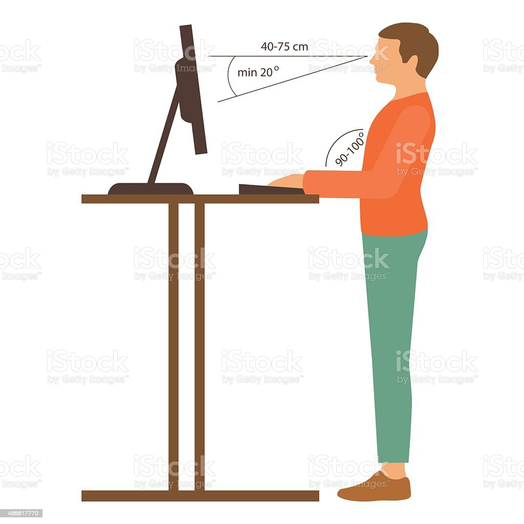 correct posture vector art illustration