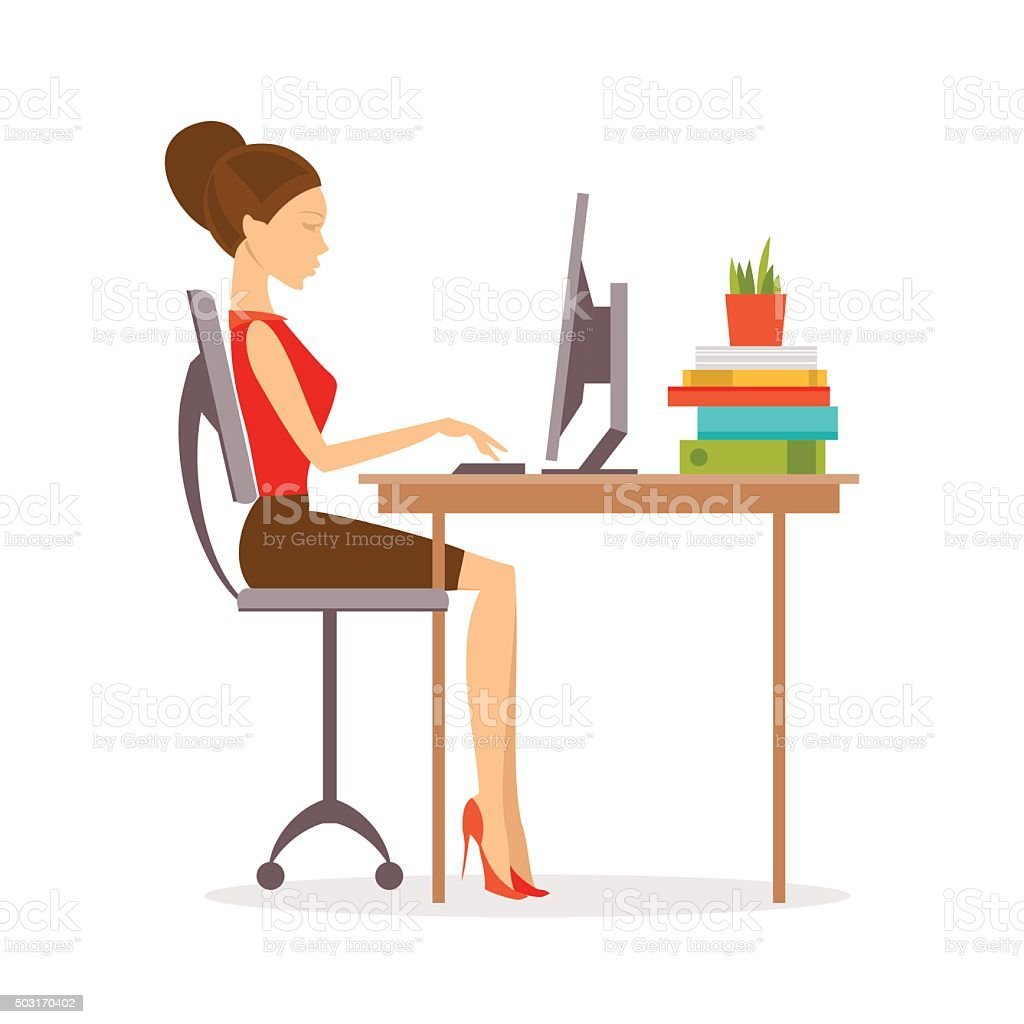 Correct posture. Vector Illustration vector art illustration