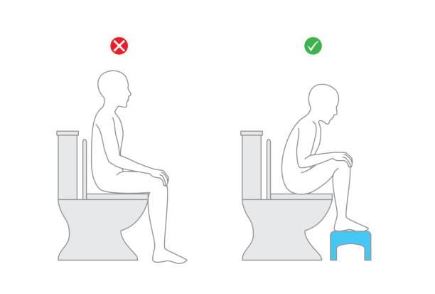健康のためのトイレの便座に座っているときの正しい姿勢です。 - 体 洗う点のイラスト素材/クリップアート素材/マンガ素材/アイコン素材