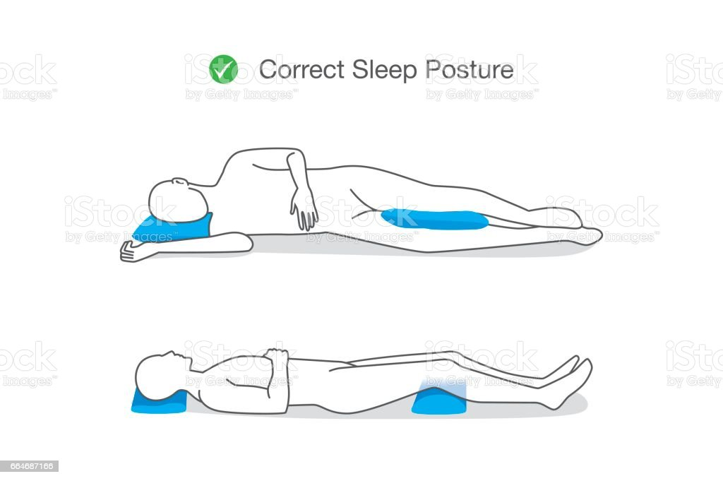 Correct posture while sleeping for maintaining your body. vector art illustration