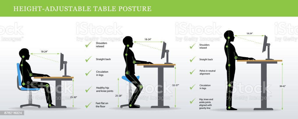 Correct postures for Height Adjustable and Standing Desks vector art illustration