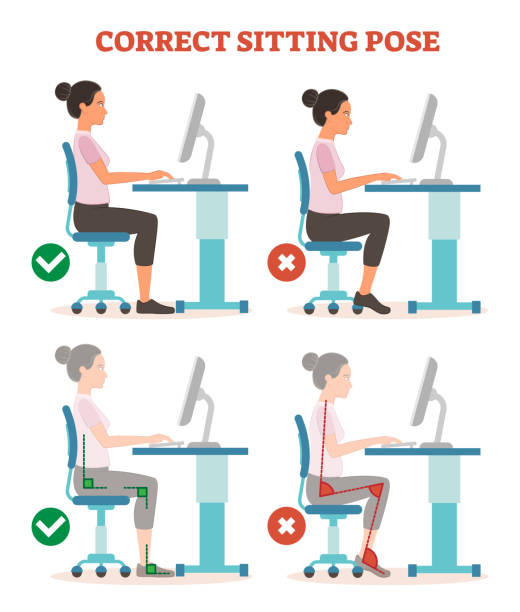 Correct sitting pose in work place health care informational poster, vector illustration scheme. Correct sitting pose in work place health care informational poster, vector illustration scheme with advised body angles. Woman from profile view in front of computer desk. posture stock illustrations