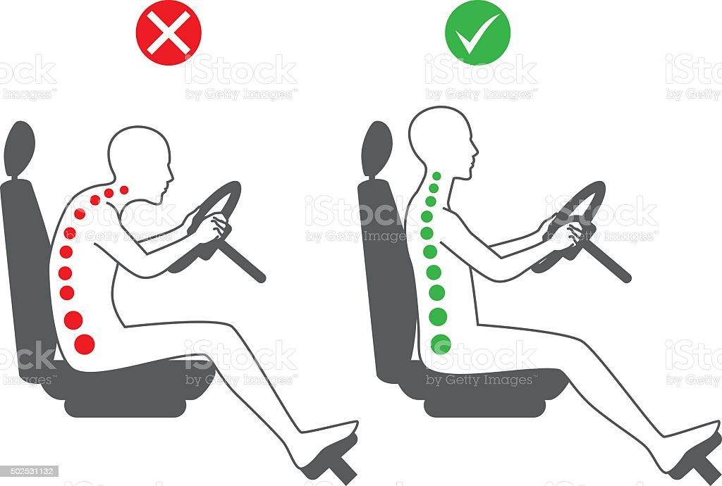 Correct sitting position in driving vector art illustration
