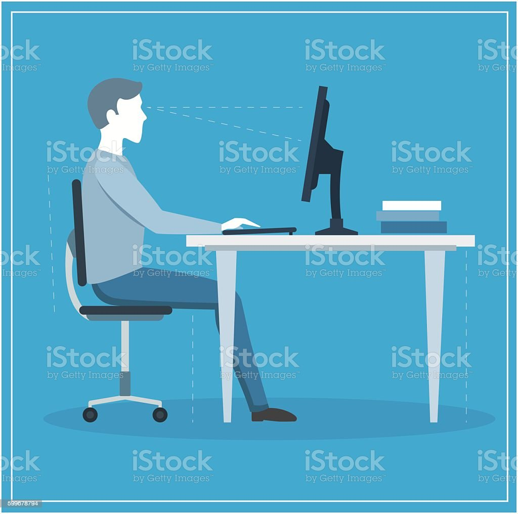Correct Sitting Posture at Computer. Vector vector art illustration