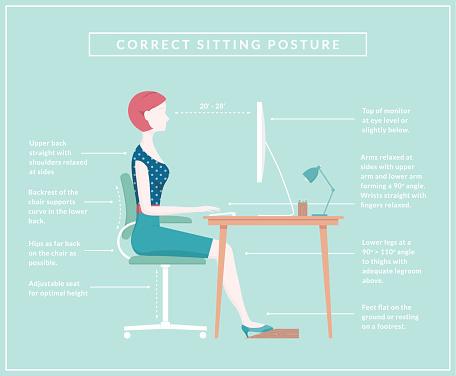 Correct Sitting Posture - Diagram