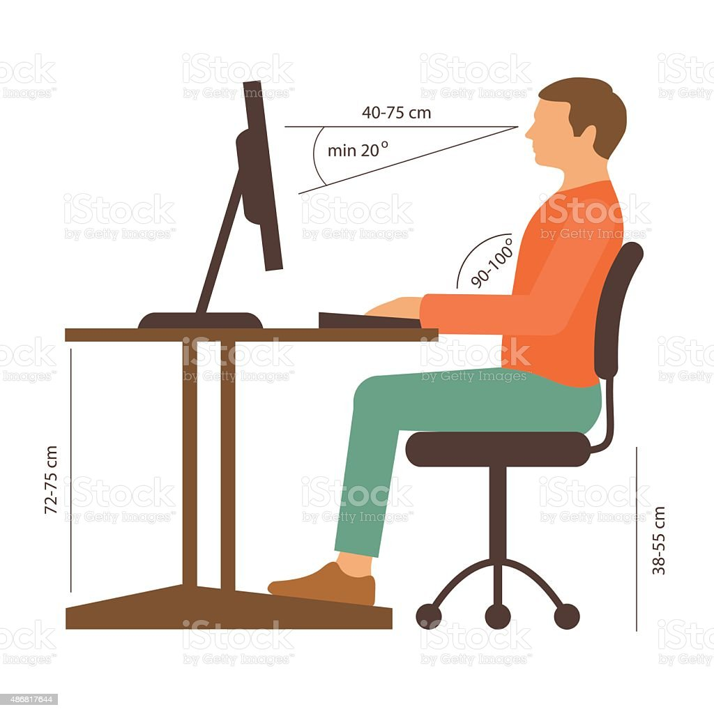 correct sitting posture vector art illustration