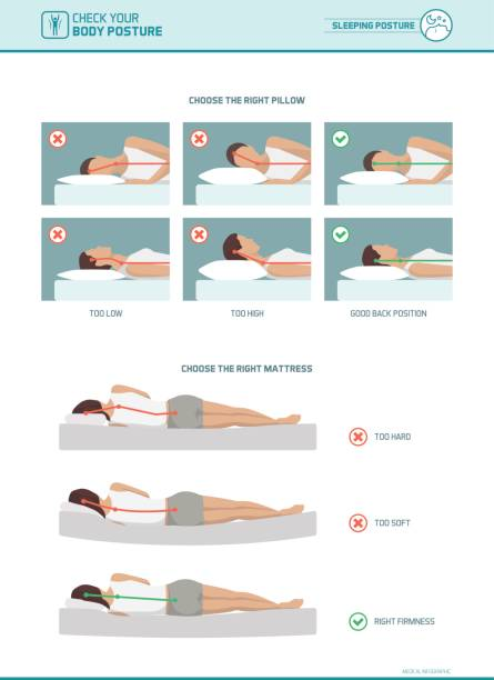 Correct sleeping ergonomics and mattress selection vector art illustration