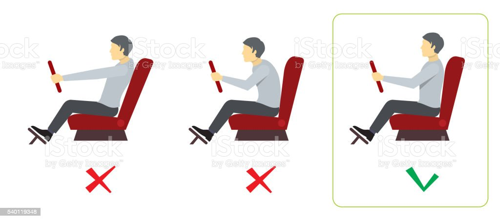 Correct spine posture for driver. Vector infographics vector art illustration