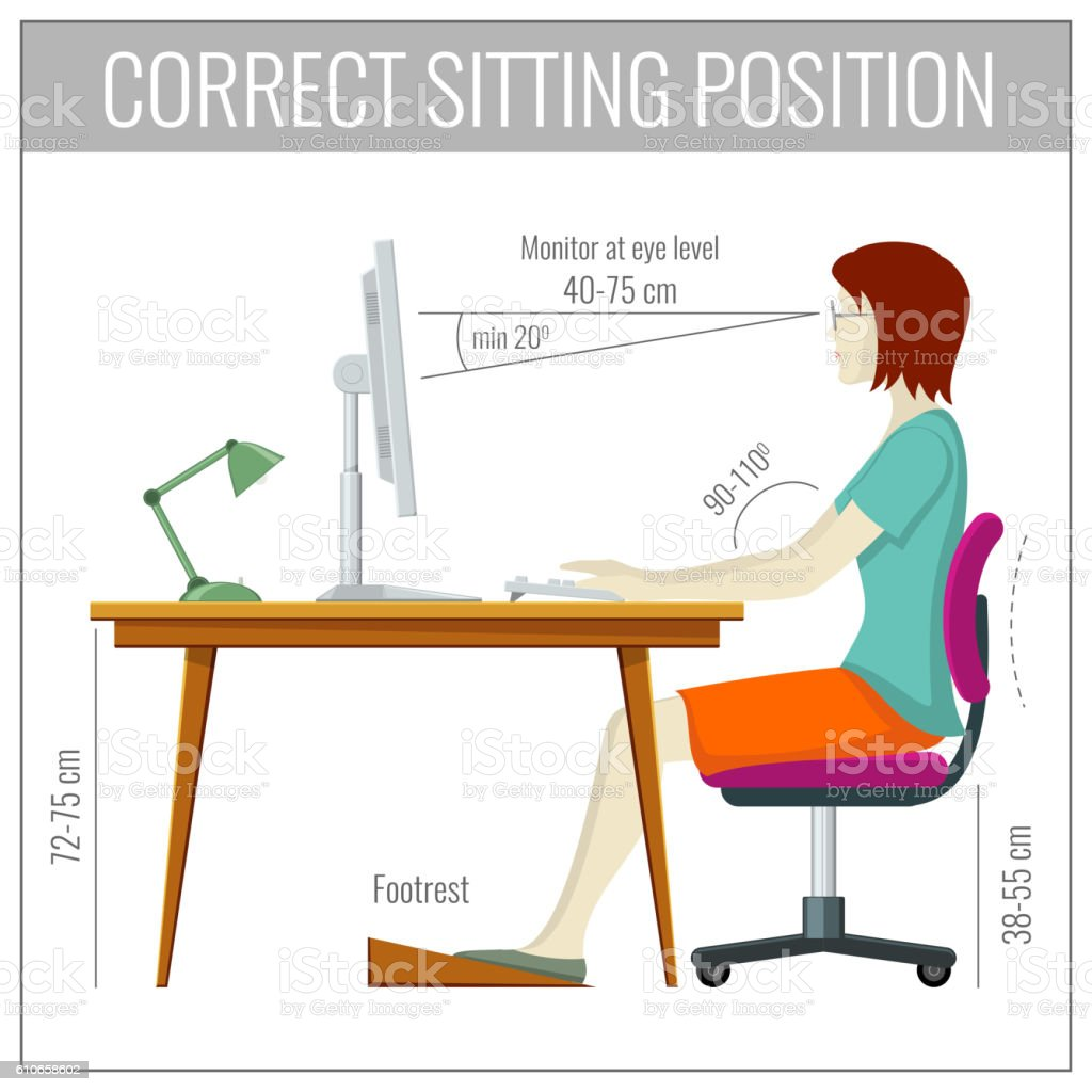 Correct spine sitting posture at computer health prevention vector concept vector art illustration