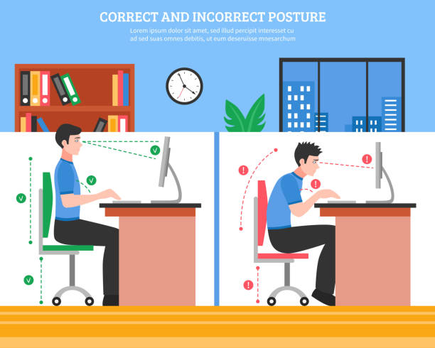 korrekte Sitzhaltung der Wirbelsäule – Vektorgrafik