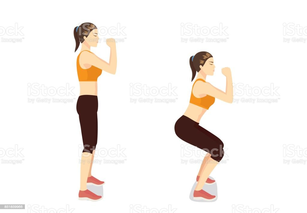 Correct step to doing workout with squat posture. vector art illustration