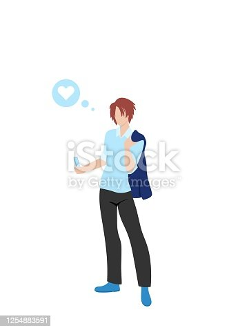 Correspond with a loved one background. Modern illustration slider site page. The concept of writing a message to a girl. Web banner send messages to your loved ones. Vector image design.