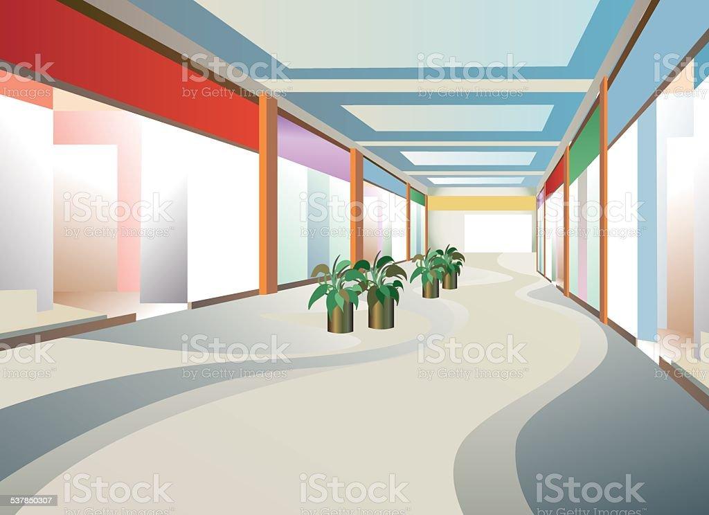corridor in mall with windows, vector vector art illustration