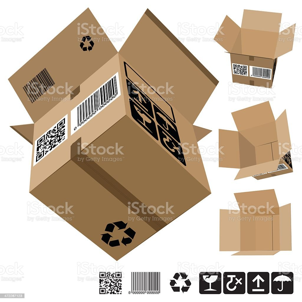 Corrugated Cardboard Large Box - Addtional Rotated set royalty-free stock vector art