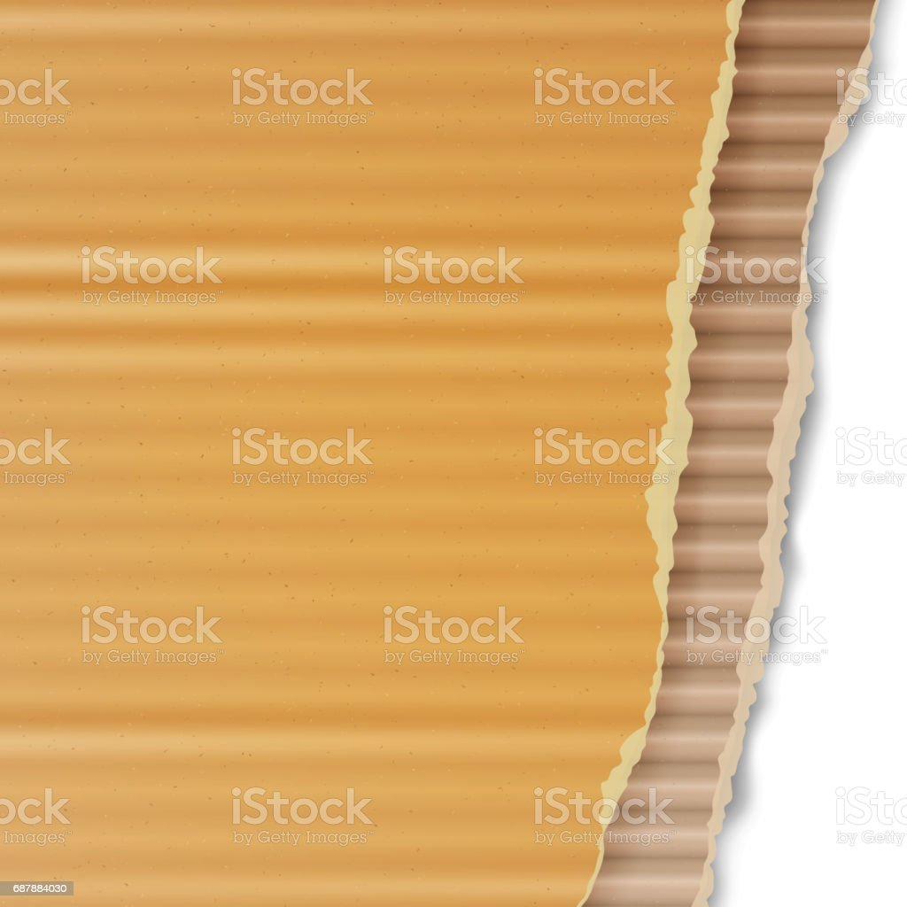 Corrugated Cardboard Vector Background. Realistic Ripped Carton Wallpaper With Torn Edges. Graphic Design Element For Poster, Flyer, Advertisement, Web Site. Vector illustration vector art illustration
