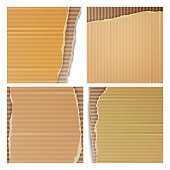 Corrugated Cardboard Vector Set. Realistic Texture Ripped Cardboard Wallpaper With Torn Edges. Logistics Service, Warehouse, Transportation Concept. Vector illustration
