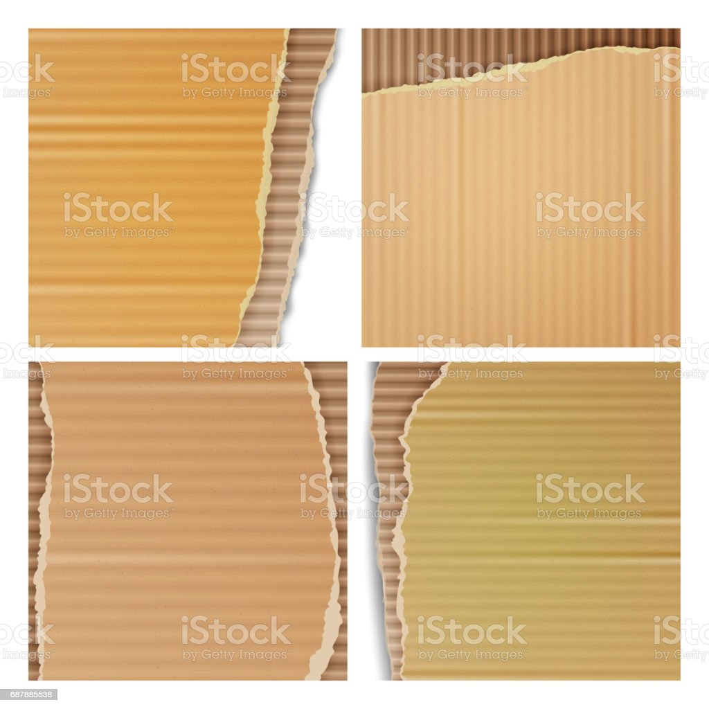 Corrugated Cardboard Vector Set. Realistic Texture Ripped Cardboard Wallpaper With Torn Edges. Logistics Service, Warehouse, Transportation Concept. Vector illustration vector art illustration