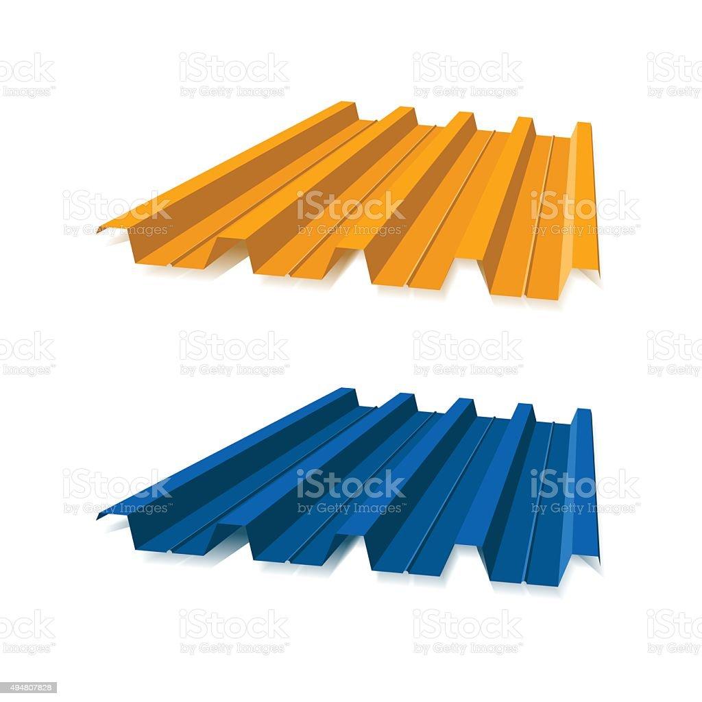 Corrugated metal roof, vector illustration vector art illustration