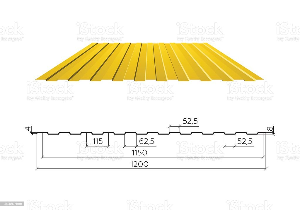 Corrugated metal roof, vector illustration vector art illustration