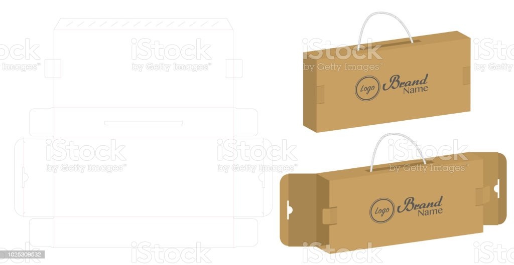 Corrugated paper box die cut with 3d mock up stock vector art more corrugated paper box die cut with 3d mock up royalty free corrugated paper box die malvernweather Choice Image