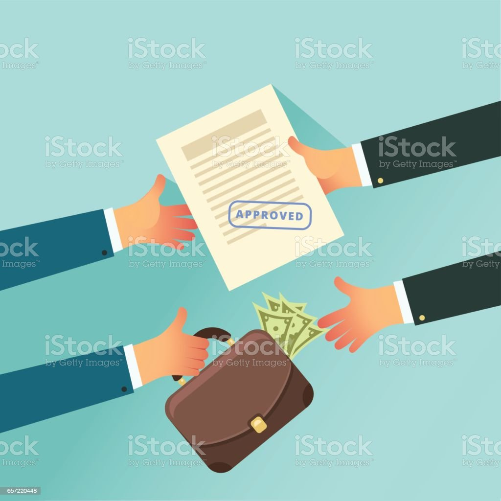 Corruption and Bribery in business concept vector art illustration