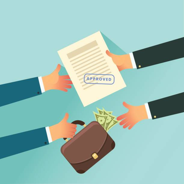 Corruption and Bribery in business concept Corruption and Bribery in business concept. Two business people holding in their hands approved paper and case of money. Vector illustration in flat style. bribing stock illustrations