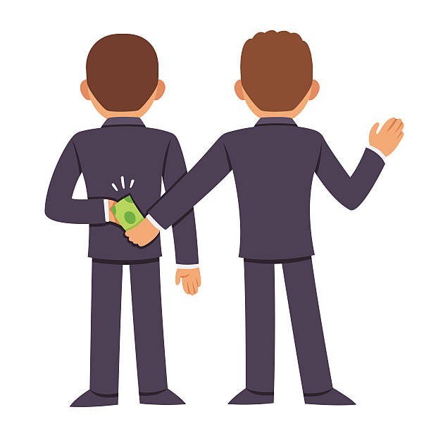 Corruption and bribery Corruption and bribery concept. People in business suits giving bribe behind back. Cartoon vector illustration. bribing stock illustrations