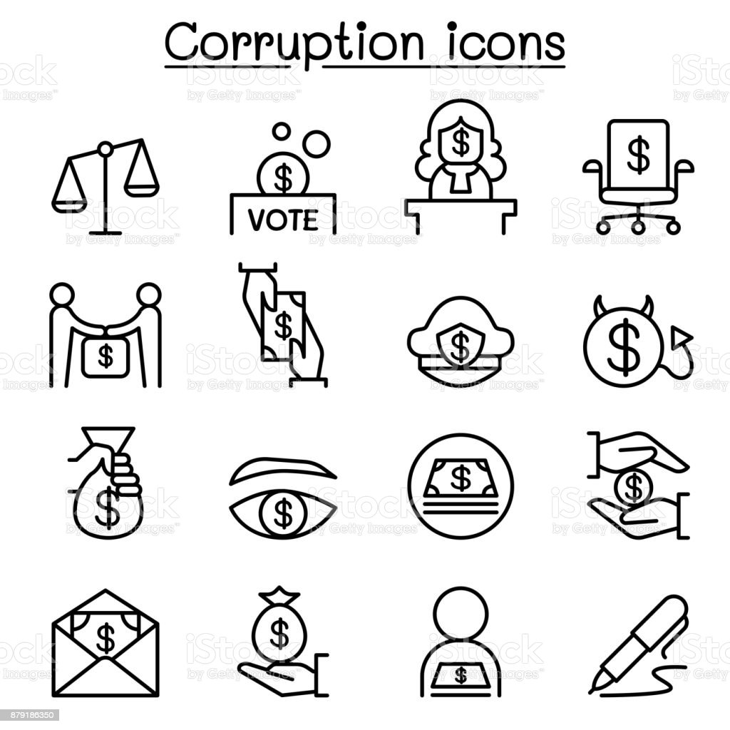 Corruption & Dishonesty icon set in thin line style