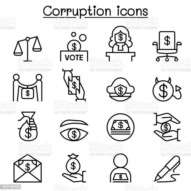 汚職不正アイコンを薄い線のスタイルの設定 - アイコンセットのベクターアート素材や画像を多数ご用意