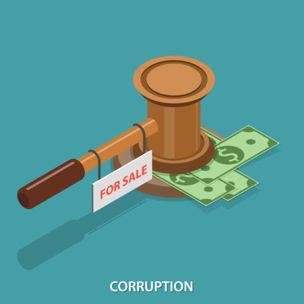 isometrische flache vektor-konzept der korruption. - geldstrafe stock-grafiken, -clipart, -cartoons und -symbole