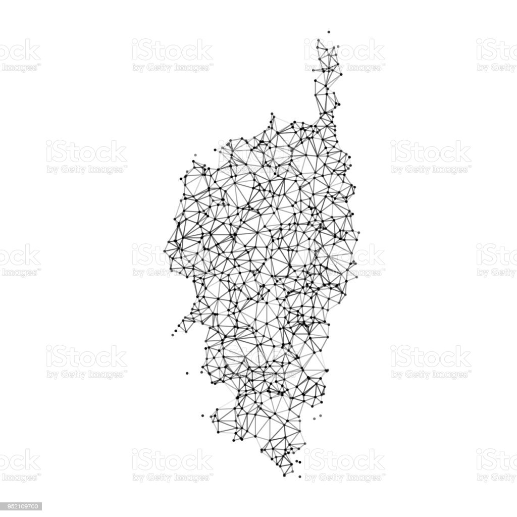 Carte Corse Vector.Corse Map Network Black And White Stock Illustration Download Image Now