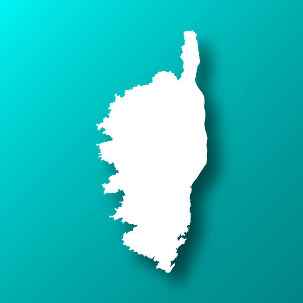 Corsica map on Blue Green background with shadow vector art illustration