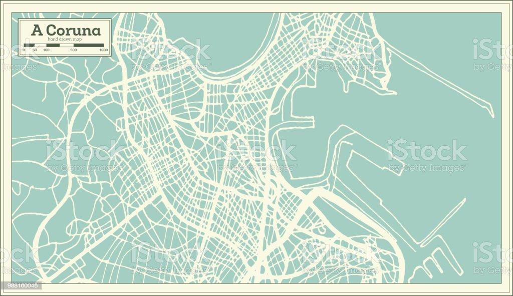 mapa de espanha corunha Ilustração de Um Mapa Da Cidade De Espanha Corunha Em Estilo Retro  mapa de espanha corunha