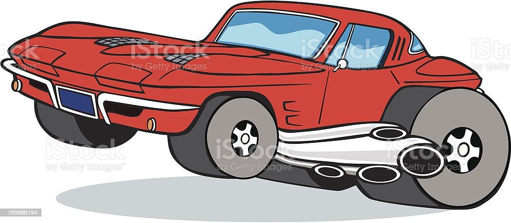 Corvette Cartoon Muscle Car Stock Vector Art More Images Of Car