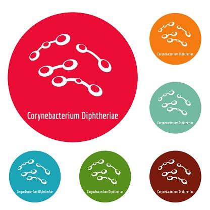 Corynebacterium diphtheriae icons circle set vector