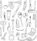 Cosmetic accessories doodles set. Vector illustration.