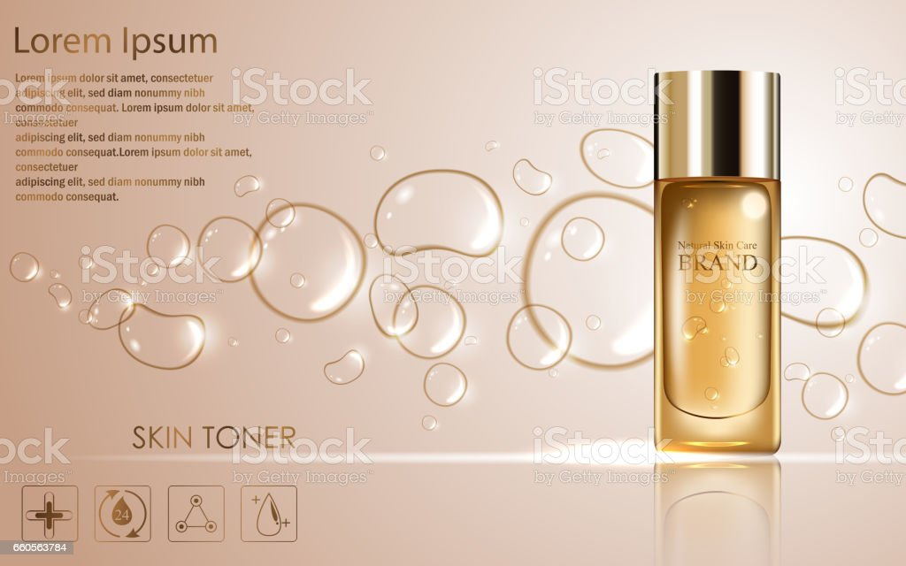 Cosmetic ads template with golden bottle package design vector art illustration