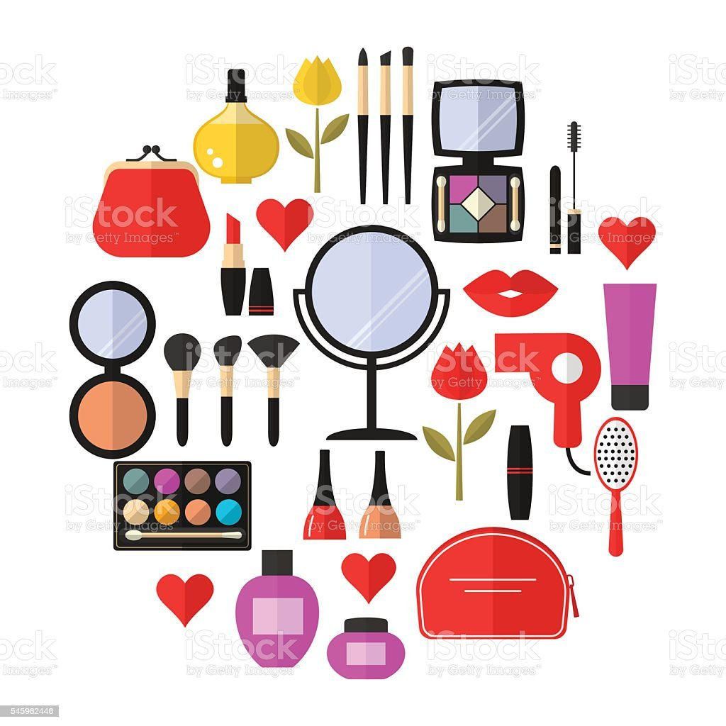 cosmetic and makeup vector flat icons stock vector art