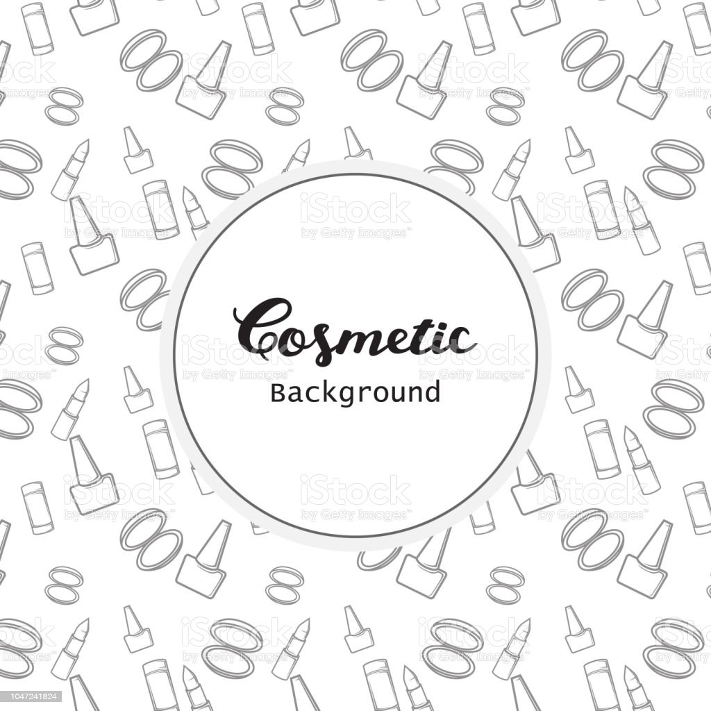 Cosmetic Background, Cosmetic Pattern Flat Lineart Icons Vector