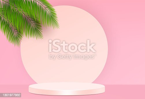 istock Cosmetic background for product, branding and packaging presentation. geometry form square molding on podium stage with shadow of leaf background. vector design. 1301977932