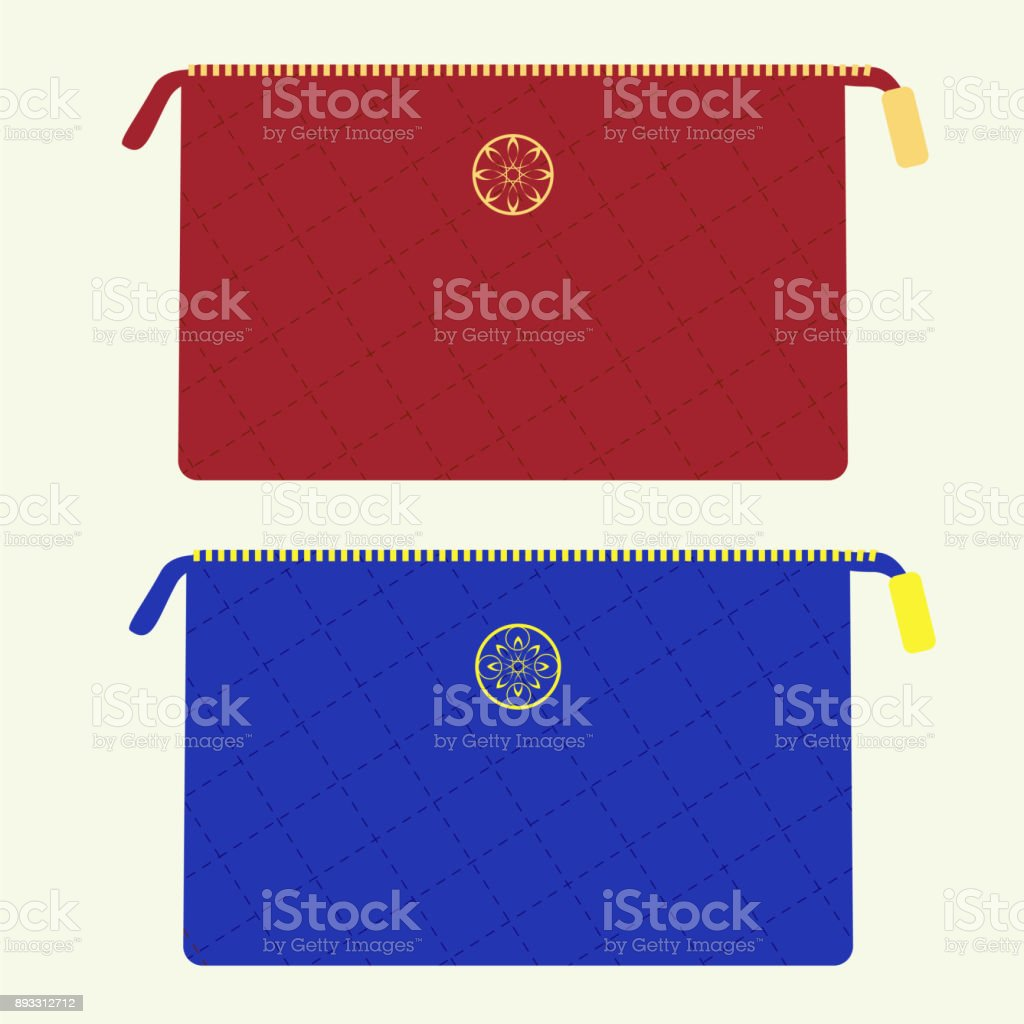 Cosmetic bag in red and blue colors vector art illustration