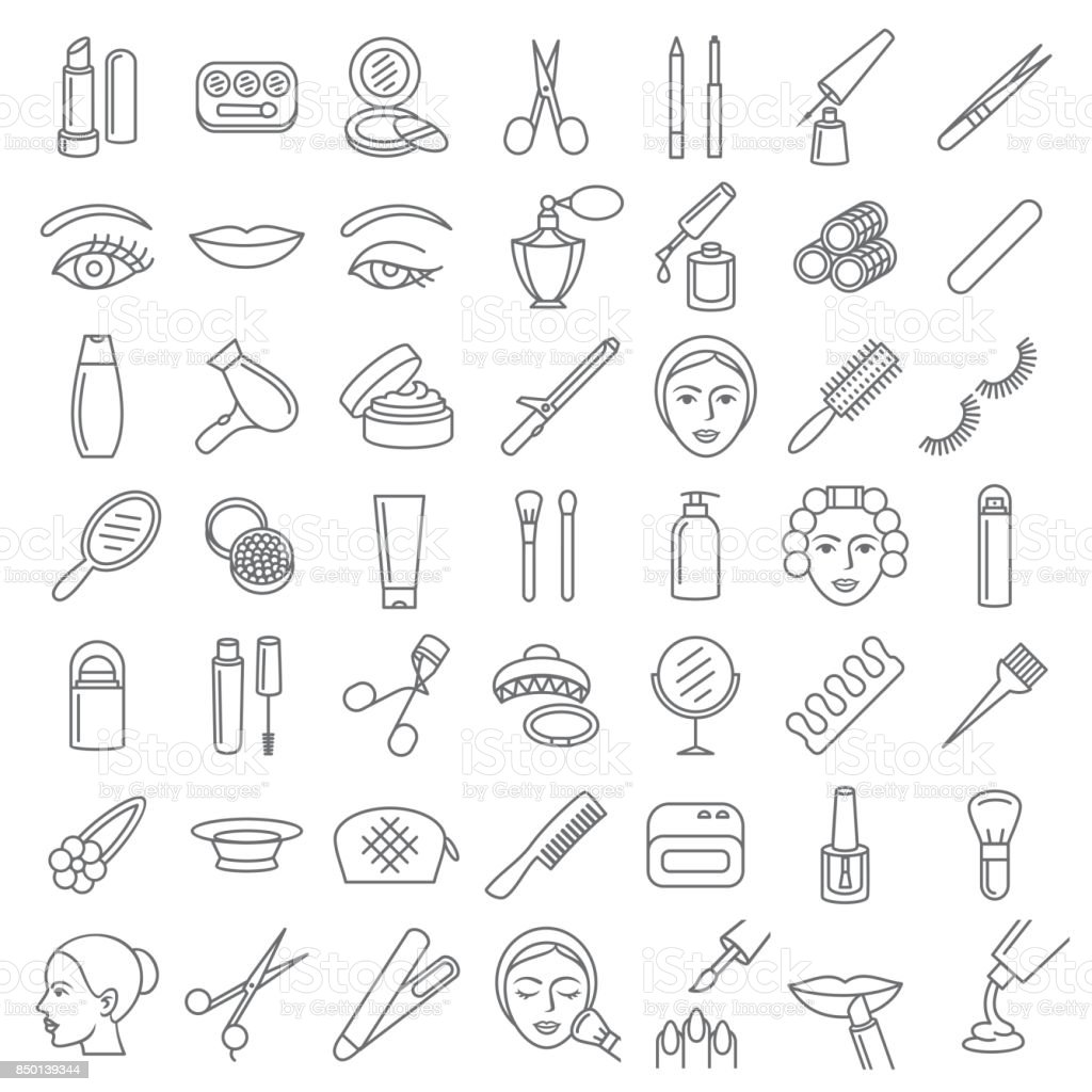 Cosmetic beauty and make up icon set vector art illustration